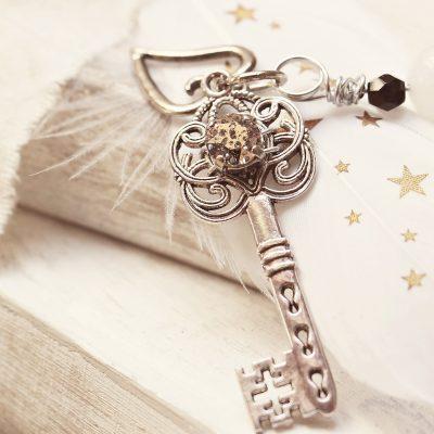 An ornate key charm.